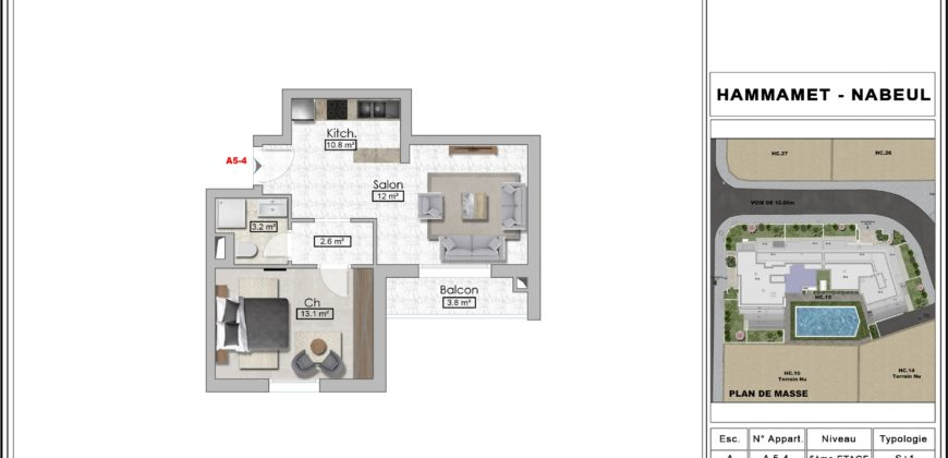 Appartement s+1 afh mrazegua